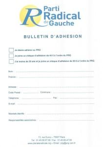 bulletin adhesion PRG